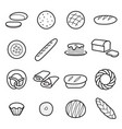 bread icons isolated vector image vector image