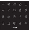 cafe editable line icons set on black vector image vector image