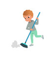 cute little boy sweeping the floor at home home vector image vector image