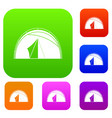 dome tent set color collection vector image vector image