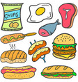 doodle of food style set collection vector image vector image