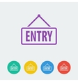 entry flat circle icon vector image