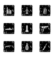 Equipment for war icons set grunge style vector image vector image