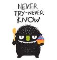 Fun Monster Eating Dessert Cartoon Card vector image vector image