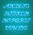 glowing blue neon uppercase script font vector image vector image