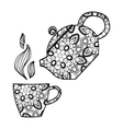 Hand drawn Teapot and cup Zentangle tea vector image vector image