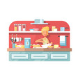housewife cooking food on kitchen vector image