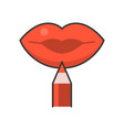 lip liner lip pencil filled outline icon vector image vector image