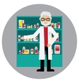 Male pharmacist in a pharmacy opposite the shelves vector image