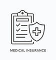 medical insurance flat line icon outline vector image vector image