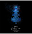 merry christmas blue glitter pine tree shape card vector image vector image