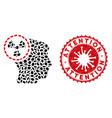 mosaic atomic thinking head icon with coronavirus vector image vector image
