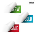New sold sale on bent paper vector image vector image