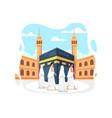 people in hajj pilgrimage wearing ihram vector image