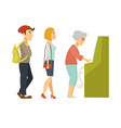 people line queue to atm cartoon vector image