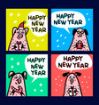 pig cards set funny pigs with candy canes gifts vector image vector image