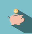 piggy bank icon on blue background vector image vector image