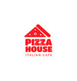 pizza restaurant funny bold logo design vector image