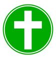 Religious cross button vector image vector image