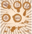 set coffee stains with stamps and splashes vector image vector image