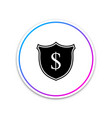 shield and dollar icon isolated on white vector image vector image