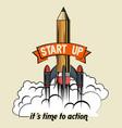 start up launcher pencil rocket vector image vector image