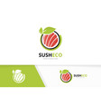 sushi and leaf logo combination japanese vector image vector image