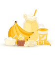 sweet banana smoothie and milkshake vector image