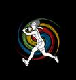 tennis player running woman play tennis vector image vector image