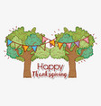 trees with branches leaves and party flags vector image