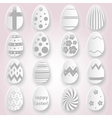 various Easter eggs design from white paper vector image vector image