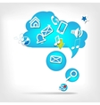 Abstract speech bubble with web icons vector image
