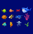 cartoon trendy colorful reef animals big set vector image