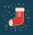 colored christmas sock icon in thin line style vector image
