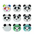 smile icons emoticons panda vector image