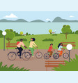 active young family out cycling together vector image