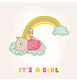 Baby Cat Girl Sleeping on a Rainbow - Baby Shower vector image vector image