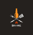 beer bottle with grill tools bar and grill logo vector image vector image