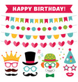 birthday party photo booth props and decoration vector image vector image