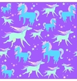 Blue and green unicorns on a violet background vector image vector image