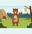 brown bear with honey cartoon background vector image