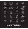 call center editable line icons set on vector image vector image