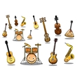 Cartoon musical instruments set vector image vector image