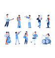 cartoon musicians men and women playing musical vector image