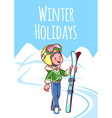 Cheerful boy posing with skis in a ski suit vector image vector image