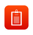 clipboard with checklist icon digital red vector image