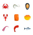 coastal life icons set cartoon style vector image vector image