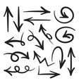 collection hand drawn doodle style arrows in vector image