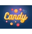 Cute candy font and sweets on the blue background vector image