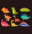 dinosaur wild animal set funny dinosaurs wild vector image vector image